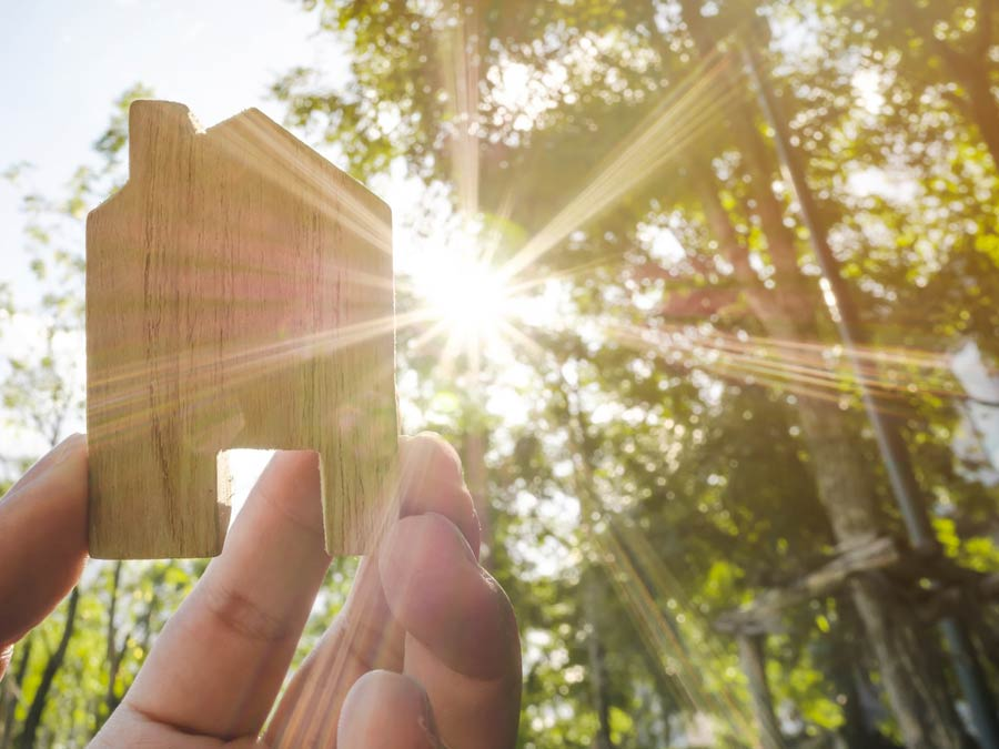 Hand holding up a small wooden house with sunlight flowing through trees in the background